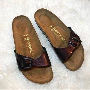 Birkenstock Metallic Wine Red Sandals